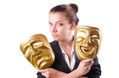 Woman with the mask in hypocrisy concept Stock Images