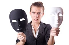 Woman with the mask in hypocrisy concept Royalty Free Stock Images