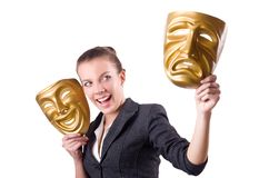 Woman with the mask in hypocrisy concept Royalty Free Stock Photography