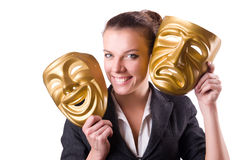 Woman with mask in hypocrisy concept Royalty Free Stock Photo