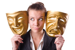 Woman with mask in hypocrisy concept Royalty Free Stock Image
