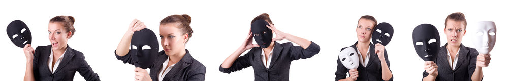 The woman with mask in hypocrisy concept. Woman with mask in hypocrisy concept Stock Image