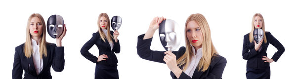 The woman with mask in hypocrisy concept Royalty Free Stock Image