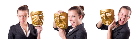 The woman with mask in hypocrisy concept Stock Image