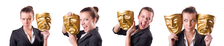 The woman with mask in hypocrisy concept Royalty Free Stock Photography