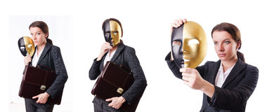The woman with mask in hypocrisy concept Stock Photography