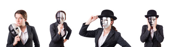 The woman with mask in hypocrisy concept Stock Photos