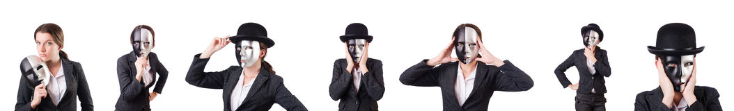 The woman with mask in hypocrisy concept. Woman with mask in hypocrisy concept Royalty Free Stock Photo