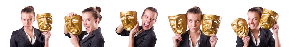 The woman with mask in hypocrisy concept. Woman with mask in hypocrisy concept Royalty Free Stock Photos
