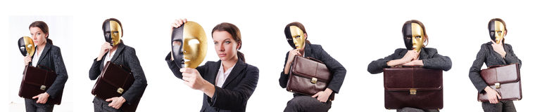 The woman with mask in hypocrisy concept Royalty Free Stock Photos