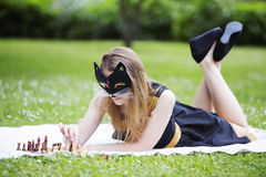 Woman  with mask is ready making move Stock Images