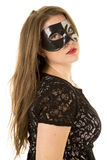 Woman mask side red lipstick Royalty Free Stock Photography
