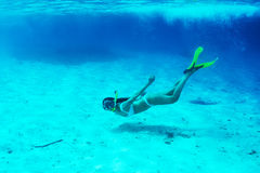 Woman with mask snorkeling Royalty Free Stock Photo