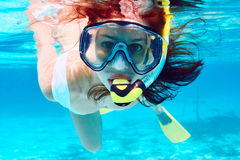 Woman with mask snorkeling Royalty Free Stock Photography