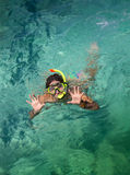 Woman with mask snorkeling in clear  water Royalty Free Stock Photos