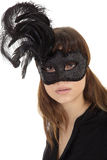 Woman with mask and tattoo royalty free stock image