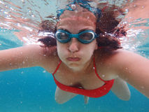 Woman with mask underwater Royalty Free Stock Photo