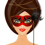 Woman with mask vector illustration