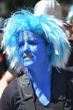 A woman masked in blue at the peoples` carnival in Kreuzberg, Berlin in July 2015 stock images