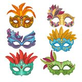 Woman masks with feathers for masquerade. Collection of masquerade mask, carnival venetian. Vector illustration Stock Photography