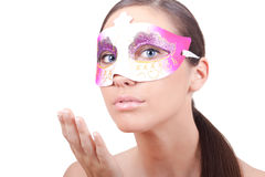 Woman with masquerade mask Royalty Free Stock Photography