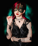 Woman with masquerade mask. 3D digital render of a beautiful woman with masquerade mask Stock Photo