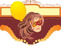 Woman in masquerade mask and yellow balloon. Card Royalty Free Stock Photos