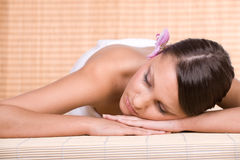 Woman in massage Stock Photography