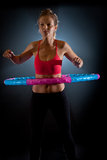 Woman with massage hula hoop Stock Image