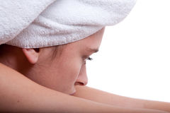 Woman on massage table Royalty Free Stock Images