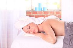Woman on a massage table Stock Photo