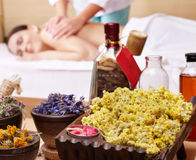 Woman on massage table in beauty spa. Series. Royalty Free Stock Images