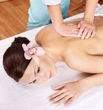 Woman on massage table in beauty spa.  Series. Stock Photography