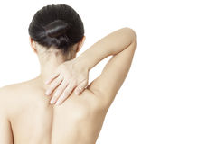 Woman massaging her neck Royalty Free Stock Image