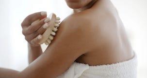 Woman Massaging Her Shoulder Stock Images