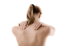 Woman massaging pain back Stock Images