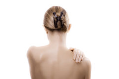 Woman massaging pain back Stock Photography