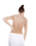 Woman massaging pain back Royalty Free Stock Photo