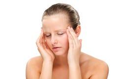 Woman massaging pain head Stock Photo