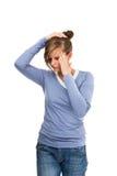 Woman massaging pain head Stock Photos