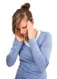 Woman massaging pain head Royalty Free Stock Photo