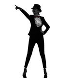 Woman master of ceremonies presenter pointing  silhouette Royalty Free Stock Photo