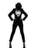 Woman master of ceremonies presenter silhouette Stock Photo