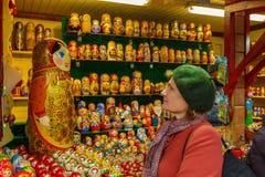 Woman and matryoshka Royalty Free Stock Photo