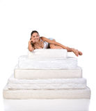 Woman and mattress Stock Photo