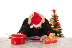 Woman of mature age alone with Christmas Royalty Free Stock Image