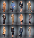 Woman at a mature age in different clothes Royalty Free Stock Image