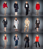 Woman at a mature age in different clothes Royalty Free Stock Images
