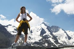 Woman in mauntains. Woman in mountains and see on high peak Royalty Free Stock Photography