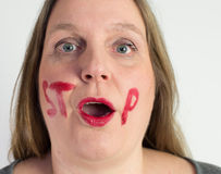 Woman may not speak Stock Photography